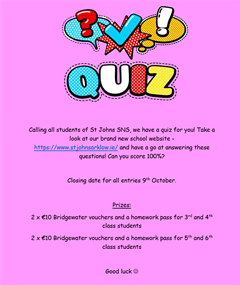 Website quiz for students
